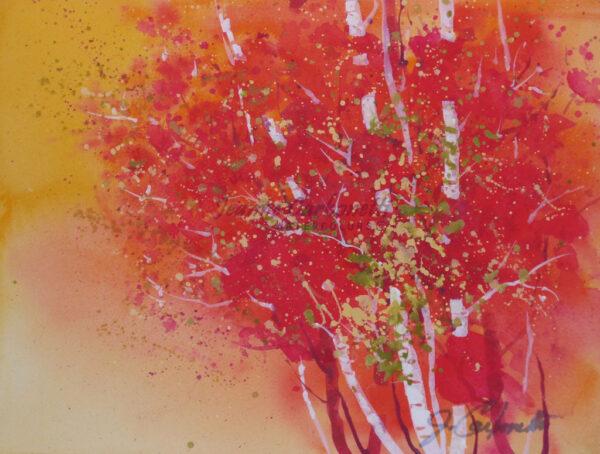 Autumn Orange Original Watercolor Painting