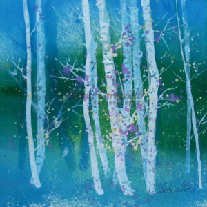 Evening Birch Original Watercolor Painting