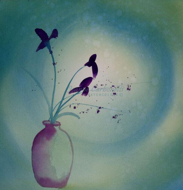 Japanese Iris with Moon II Original Watercolor Painting