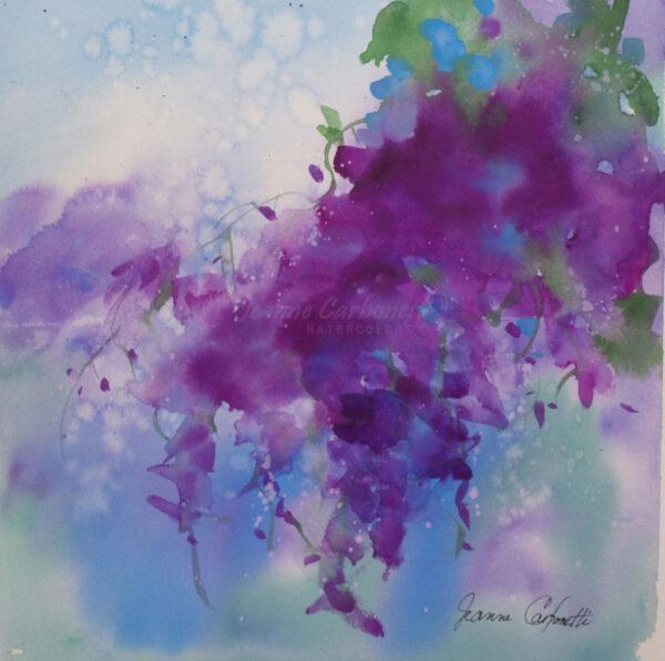Purple Wisteria Original Watercolor Painting