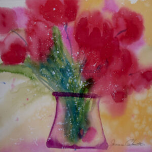 Red Tulips in Vase Original Watercolor Painting