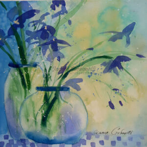 Summer Iris in Vases Original Watercolor Painting