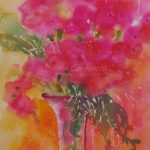 Vase of Pink Poppies Original Watercolor Painting