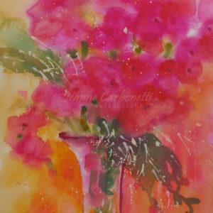 Vase of Pink Poppies Original Watercolor Painting