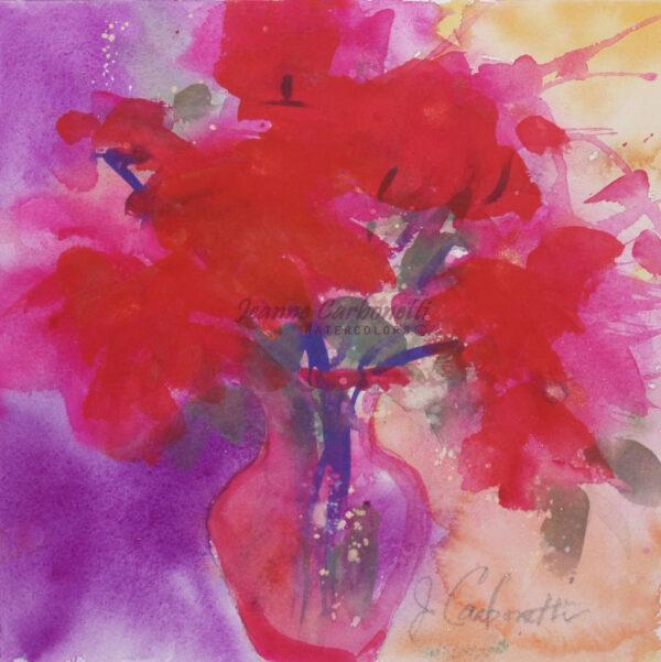 Wild Red Roses Original Watercolor Painting