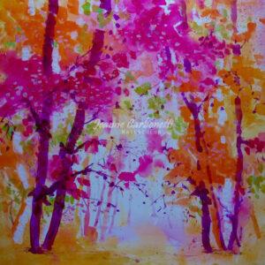Autumn Morning Presentation Sized Original Watercolor Painting