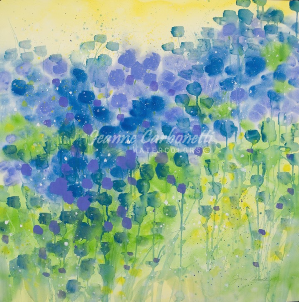 Blue Tulips Presentation Sized Original Watercolor Painting