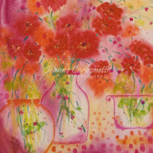 Happy, with Still Life Presentation Sized Original Watercolor Painting