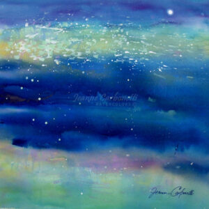 Pond Shimmer, Night View Original Watercolor Painting