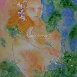 Preparing for the Bath Original Watercolor Painting