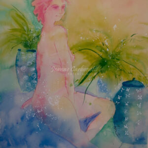 Kim in Fern Room Original Watercolor Painting